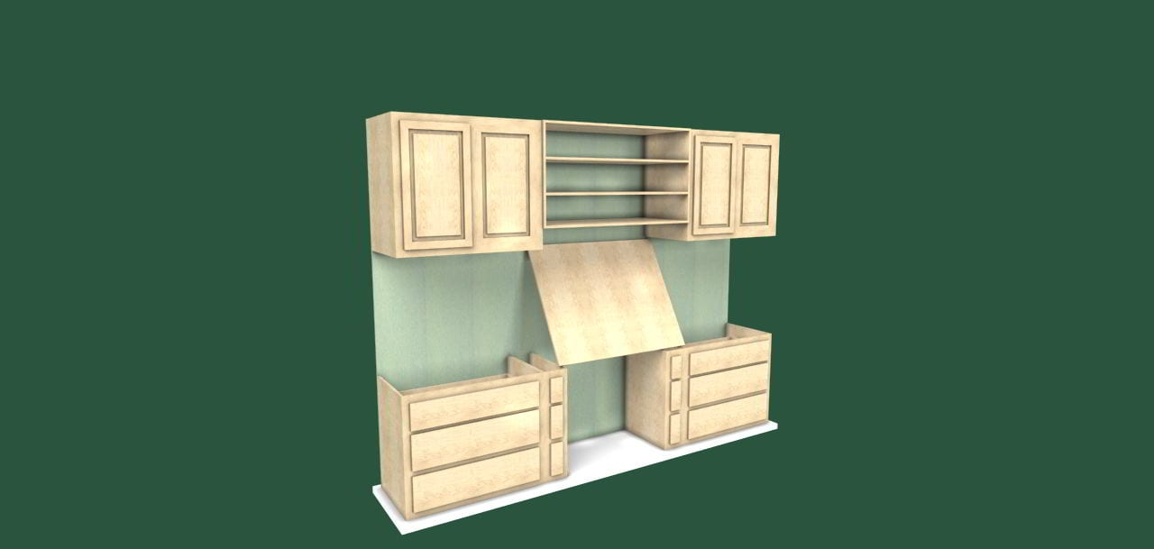 rendering of book case wall unit