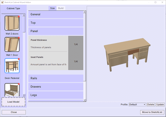 Showing the main Wizard form. Desk woodworking plans made easy.
